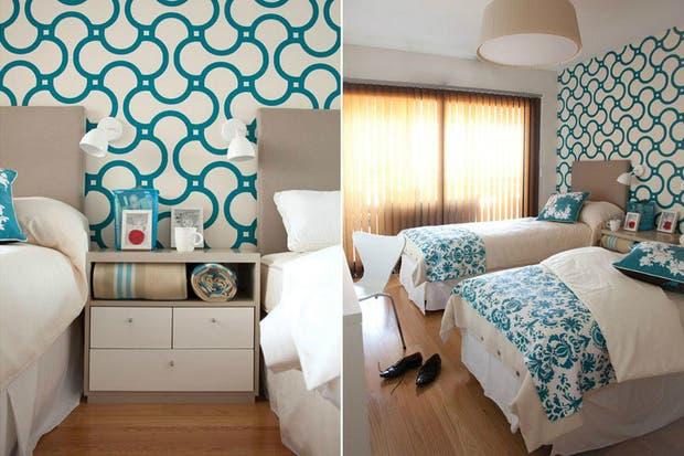 En un cuarto compartido, los colores del papel dialogan con la ropa de cama .  /Archivo LIVING