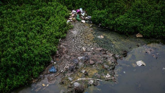Residuos semisumergidos aparecen a lo largo de toda la cuenca