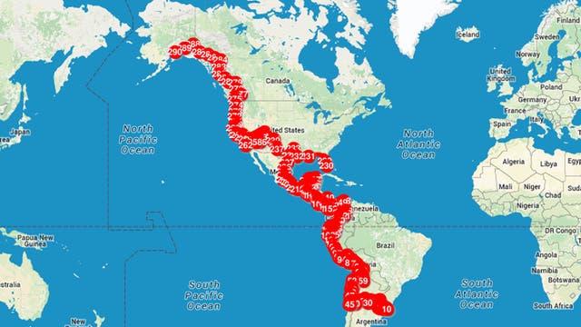 El mapa de viaje de la pareja, en detalle