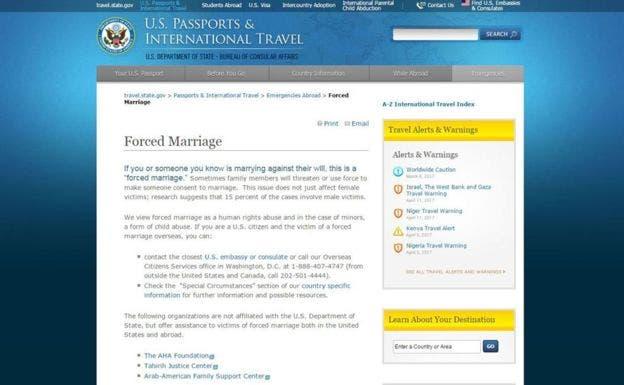 En su página web, el Departamento de Estado de EE.UU. le indica a sus ciudadanos qué hacer en caso de ser una víctima de matrimonio forzado