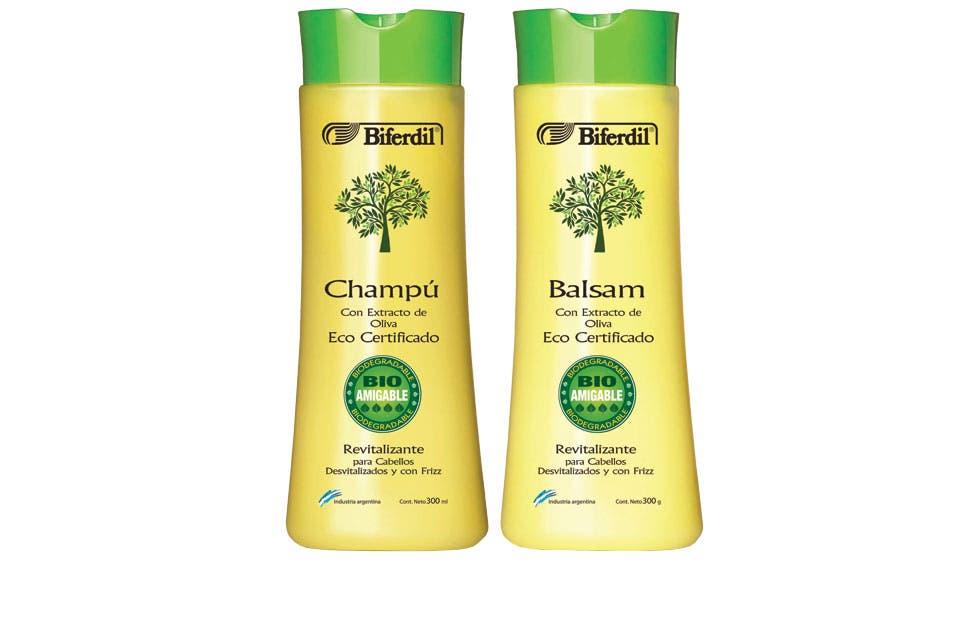 Champú y crema con oliva para mejorar el frizz. Es cruelty free (Biferdil, $135 c/u).