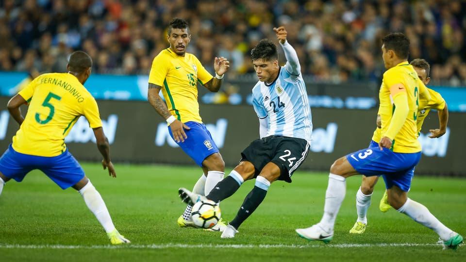 Argentina - Brasil en Melbourne. Foto: LA NACION / Rodrigo Néspolo