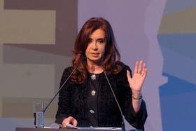Cristina Kirchner, en un acto del martes por la noche, antes de la lipotimia