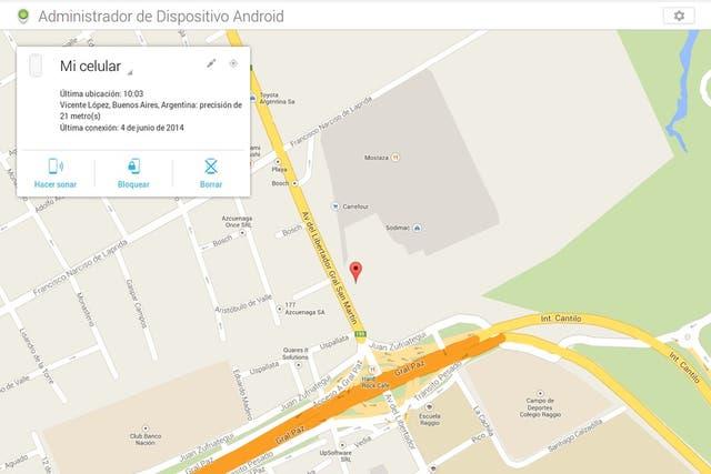 El administrador de dispositivos de Android puede ubicar un equipo desde cualquier navegador