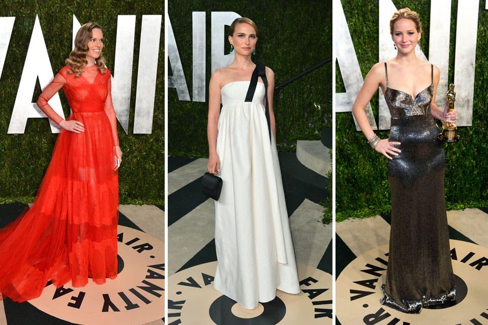 Tres mejores actrices: Hillary Swank, dos veces galardonada, Natalie Portman y la última ganadora, Jennifer Lawrence, que cambió vestido para Vanity Fair. Foto: /Getty Images