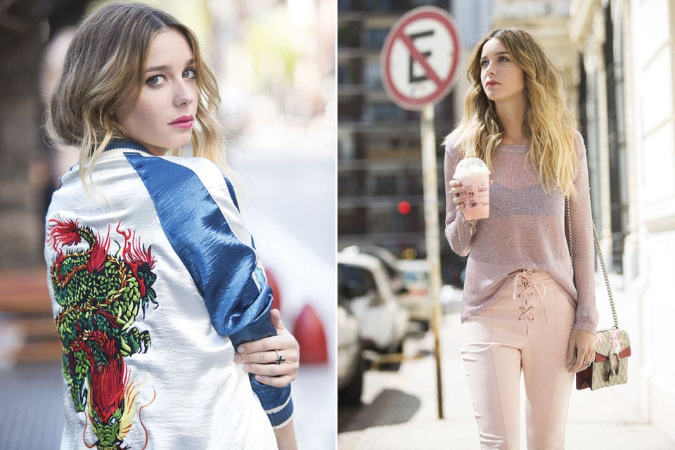 A la izquierda, bomber bordada ($4900, Divina Bolivia). A la derecha,sweater de hilo metalizado y pantalón ($3200 y $1900, Clara). Cartera pintada a mano (Gucci).