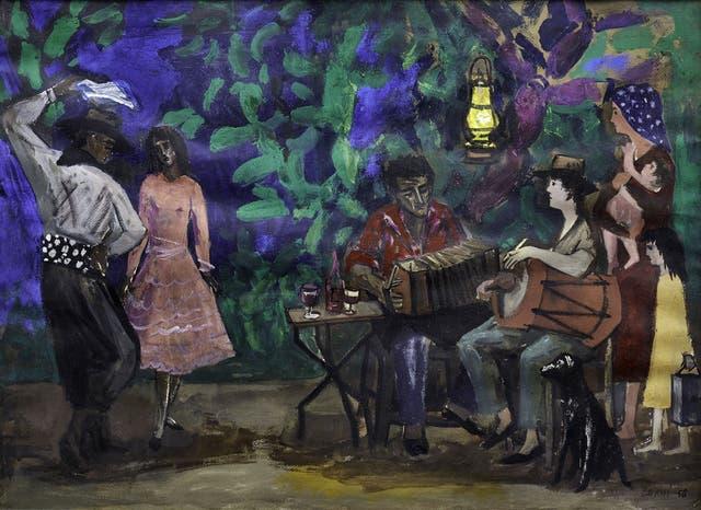 $ 216.000 Noche en el campo. Santiago del Estero. Témpera de Antonio Berni, de 45x65 cm, de 1956.