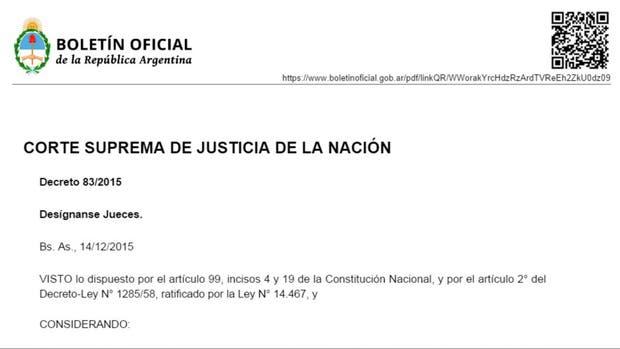 A través del decreto Decreto 83/2015, Macri designó a Rosatti y Rosenkrantz en el máximo tribunal