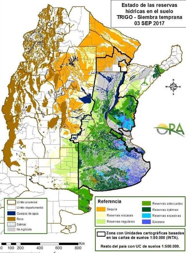 La situación hídrica al 3 de septiembre