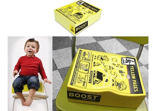 Asiento páginas amarillas para el bebe: parece igual que las guías tradicionales pero tiene forma ergonómica. Foto: http://www.worldwidefred.com/boost.htm