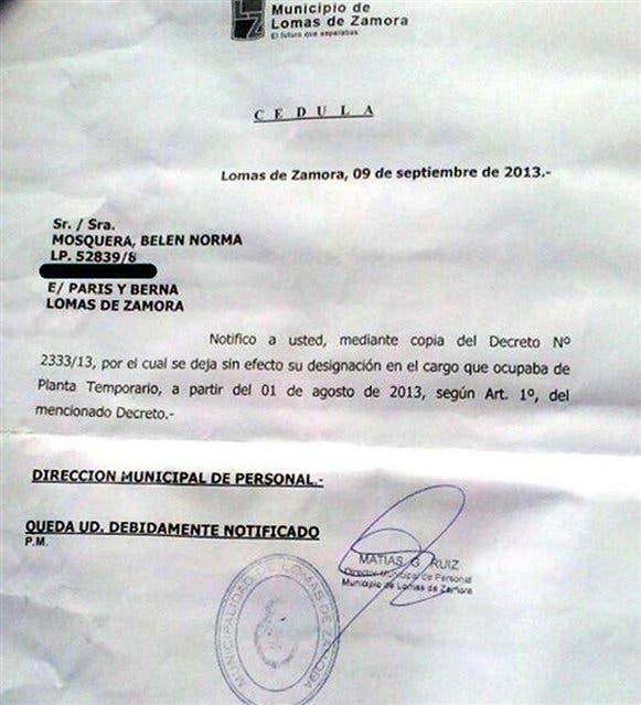 La notificación del despido que recibió la oficial