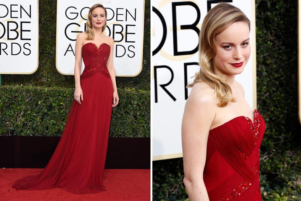 Brie Larson dijo presente con su Rodarte rojo hecho a medida. Foto: OHLALÁ! /Reuters, AFP