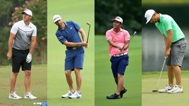 Brooks Koepka (Estados Unidos), Dustin Johnson (EE.UU), Hideto Tanihara (Japón), Kevin Chappell (EE.UU.) en las prácticas previas al torneo