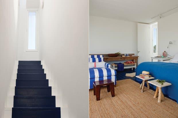 Baños Estilo Nautico:Subiendo la escalera, donde el efecto de la pintura simula una