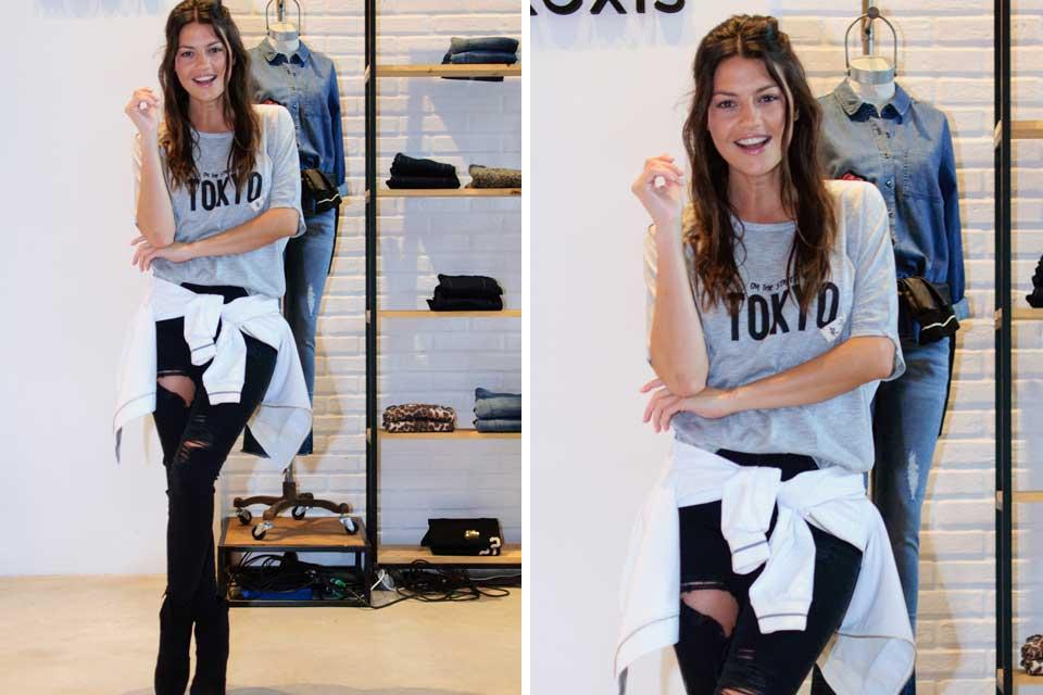 """¡Look rocker para Sofía """"Jujuy"""" Jiménez! La modelo optó por una remera básica, jeans rasgados y botas con plataforma para completar su estilismo. Foto: OHLALÁ!"""