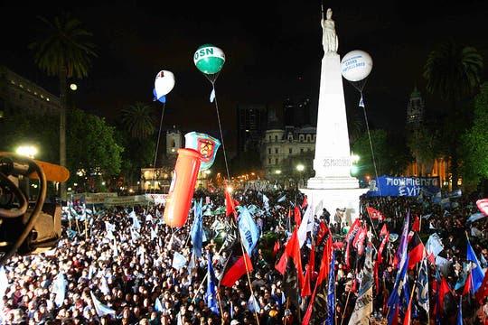 Los festejos en Plaza de Mayo. Foto: LA NACION / Marcelo Gómez