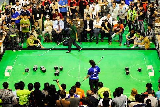 Las atracciones de la Robocup, los robots que participan en la categoría Fútbol. Foto: Gentileza Robocup