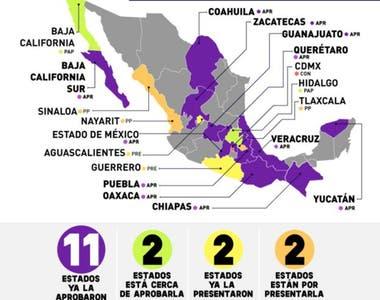 Estados de México donde se ha aprobado la Ley Olimpia