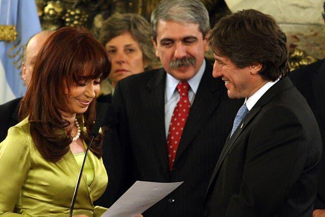 Boudou y Fernández juntos en la jura del ministro de Economía en julio de 2009
