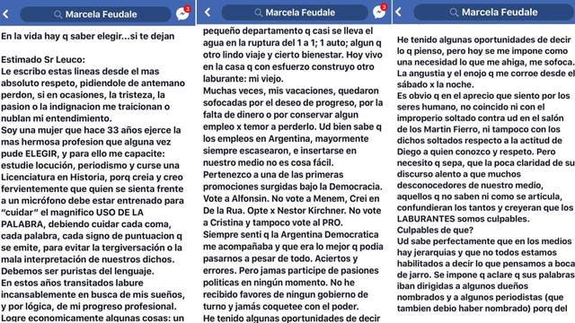 El principio de la extensa carta de Marcela Feudale
