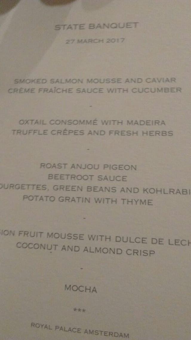 El menú de la cena de gala en el Palacio Real de Amsterdam