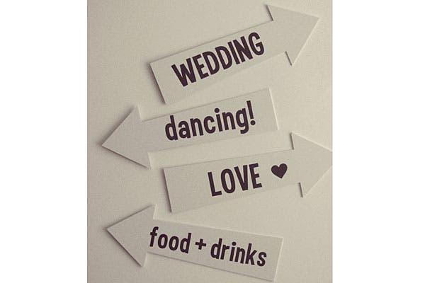 Carteles señaladores para una mega fiesta. Foto: Gentileza Wedding Factory