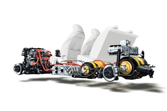 La disposición del motor y los tanques en el Toyota Mirai