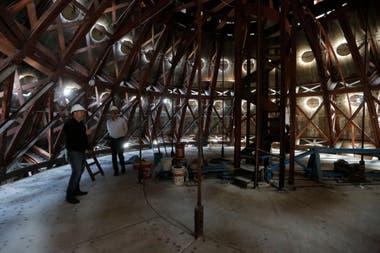 El casquete de la cúpula, en plena restauración