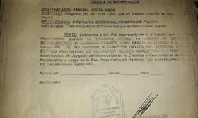 La cédula de detención de Juan Pablo Suárez