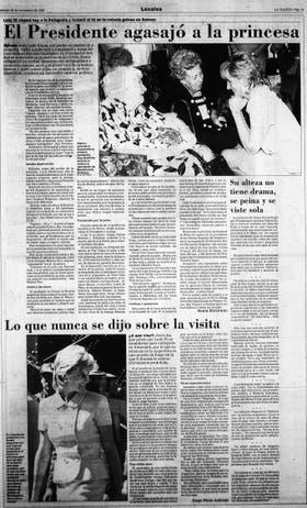 Todos los días de su visita, los medios cubrieron cada paso de Lady Di en la Argentina. Página 19 de LA NACION del 25 de noviembre de 1995
