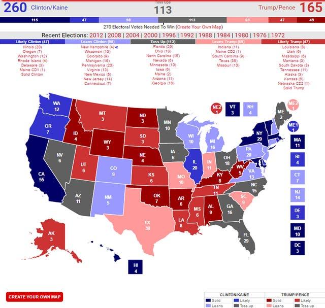 Los estados marcados en gris son los que todavía no se definieron por un candidato; los números indican la cantidad de electores de cada estado