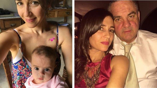 A la izquierda, Luz con su beba Helena luego de su cirugía. A la derecha, con su marido y compañero de vida Alejandro