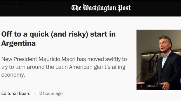 El diario norteamericano destacó varias medidas, entre ellas la liberación del cepo cambiario