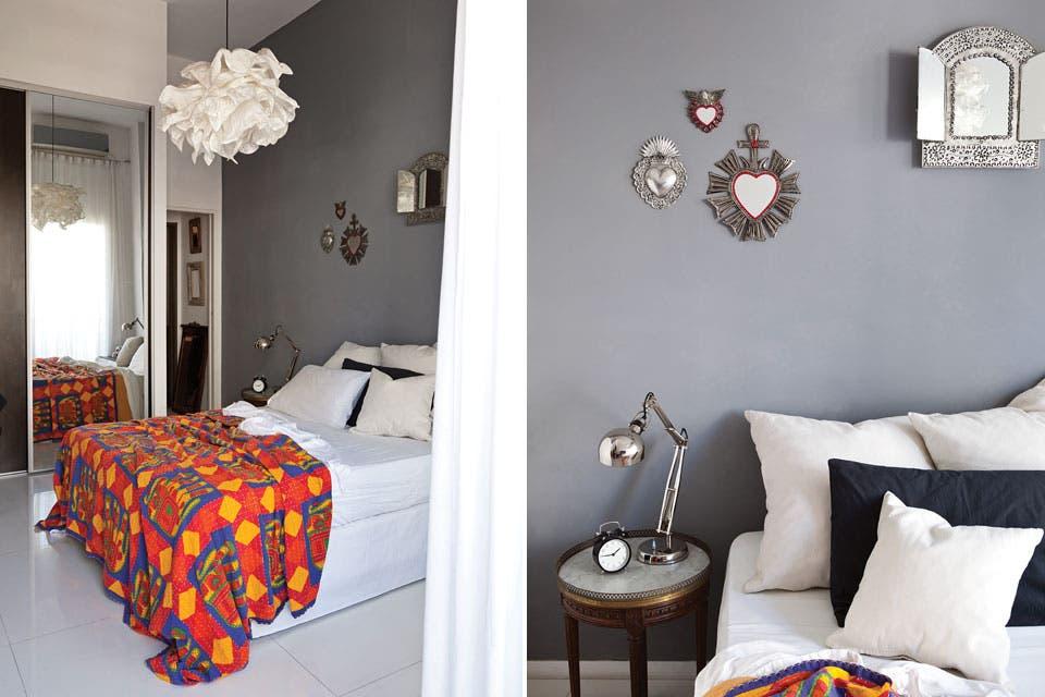 Una colorida manta india pone la cuota de energía sobre la cama vestida de blanco. Lámpara de techo 'Krusning', de Ikea.  Foto:Living /Magalí Saberian