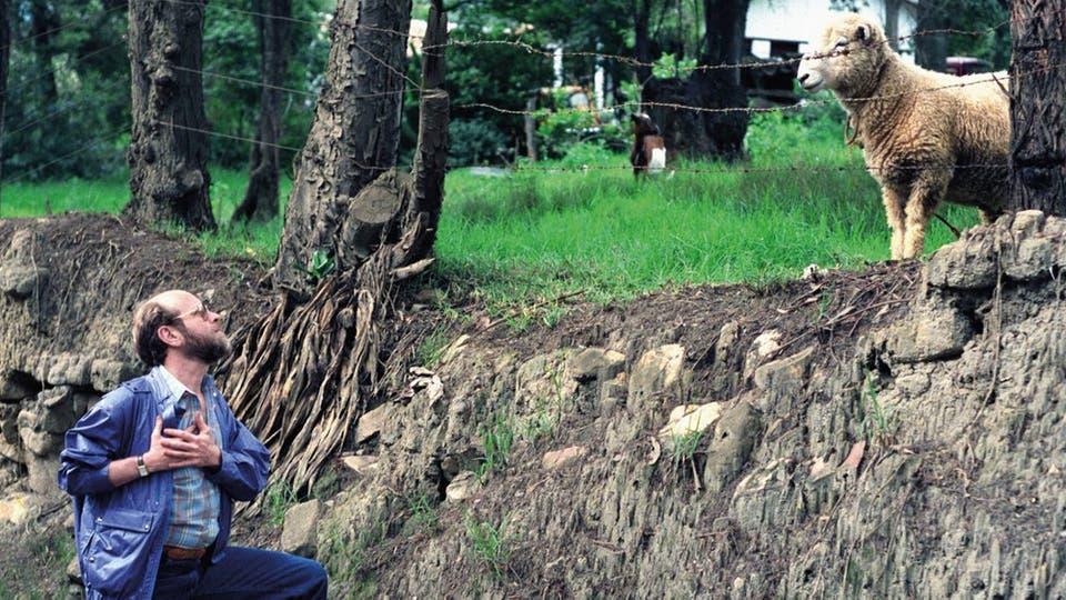 Marcos canta una balada a una oveja en Colombia, en 1987; la tímida agasajada ni dice ni mu. Foto: gentileza Planeta