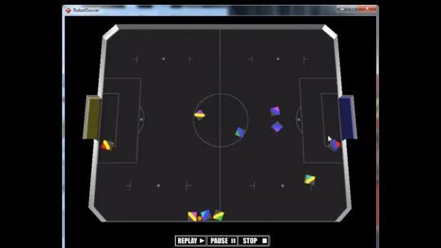 Simurosot es una categoría en donde se simula el campo de juego y el movimiento de los robots virtuales