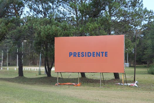 Los carteles de Scioli, todos en naranja, tienen distintos mensajes: desde Daniel 2015 a la palabra PRESIDENTE. Foto: LA NACION / Matías Aimar