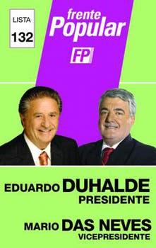 Duhalde quería el azul, tuvo que conformarse con verde y lila.