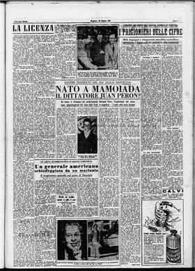 Mamoiada dividida en peronistas y no peronistas, es el título de uno de los artículos firmados por Nino Tola