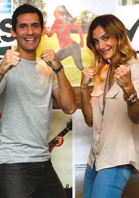 Sebastián Crismanich y Lucha Aymar, en un evento de Rexona.