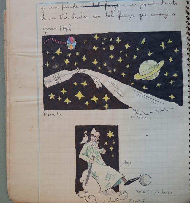 La creación, según Landrú. Páginas del cuaderno en el que escribió e ilustró Génesis novísimo, en 1939.