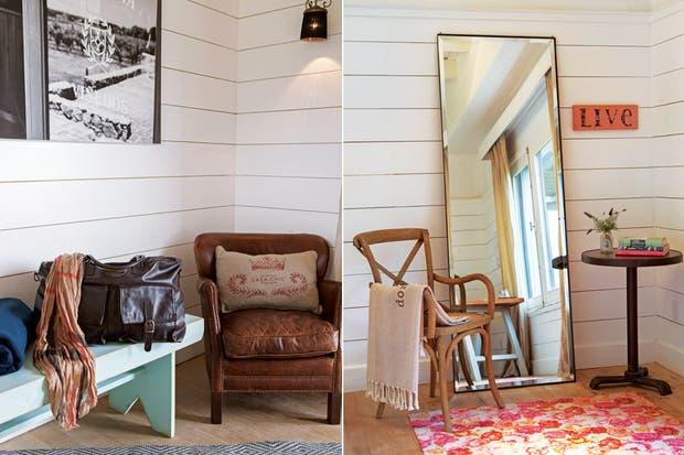 Machimbre. El revestimiento de madera pintada les da a los cuartos un tinte de elegante rusticidad.