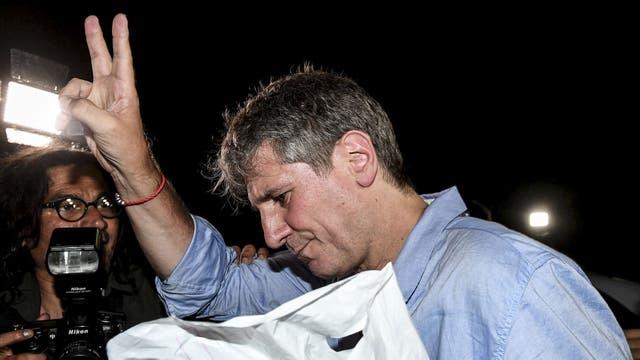 Amado Boudou, al ser liberado de la cárcel de Ezeiza