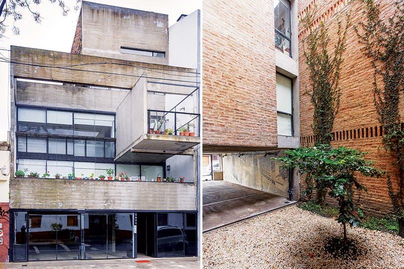 Hormigón y ladrillo a la vista en la fachada del edificio