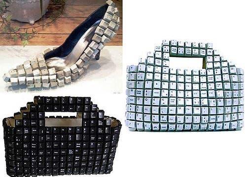 Zapatos y carteras hechos de teclas: ¿en qué parte iría el monitor?. Foto: www.nopuedocreer.com