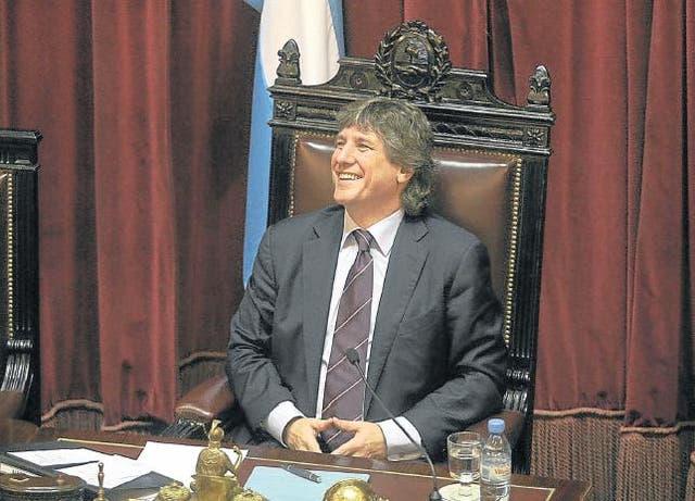 Boudou en el Senado, en agosto de 2012, en el debate para la expropiación de Ciccone