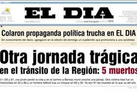 La tapa de El Día de La Plata informa sobre el suceso en su edición de hoy