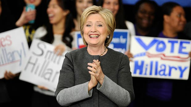 Clinton, durante un acto de campaña, ayer, en Springfield