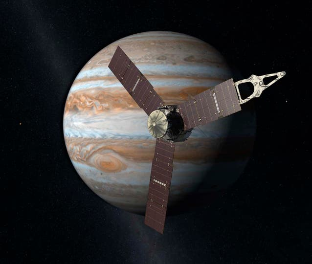 Juno convirtió en el vehículo que más se aproxima al gigantesco planeta gaseoso. Foto: AP / NASA/JPL-Caltech via AP