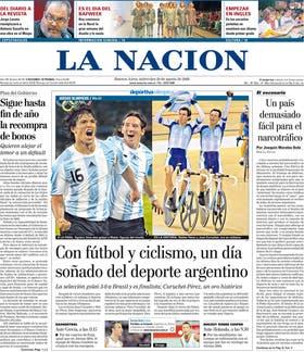 La tapa del 20 de agosto de 2008, con la medalla de oro de Pérez y Curuchet en ciclismo, el mismo día que el fútbol le ganó la semifinal a Brasil